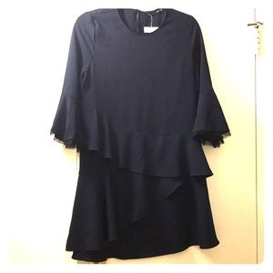NWT Zara Navy Ruffle Dress